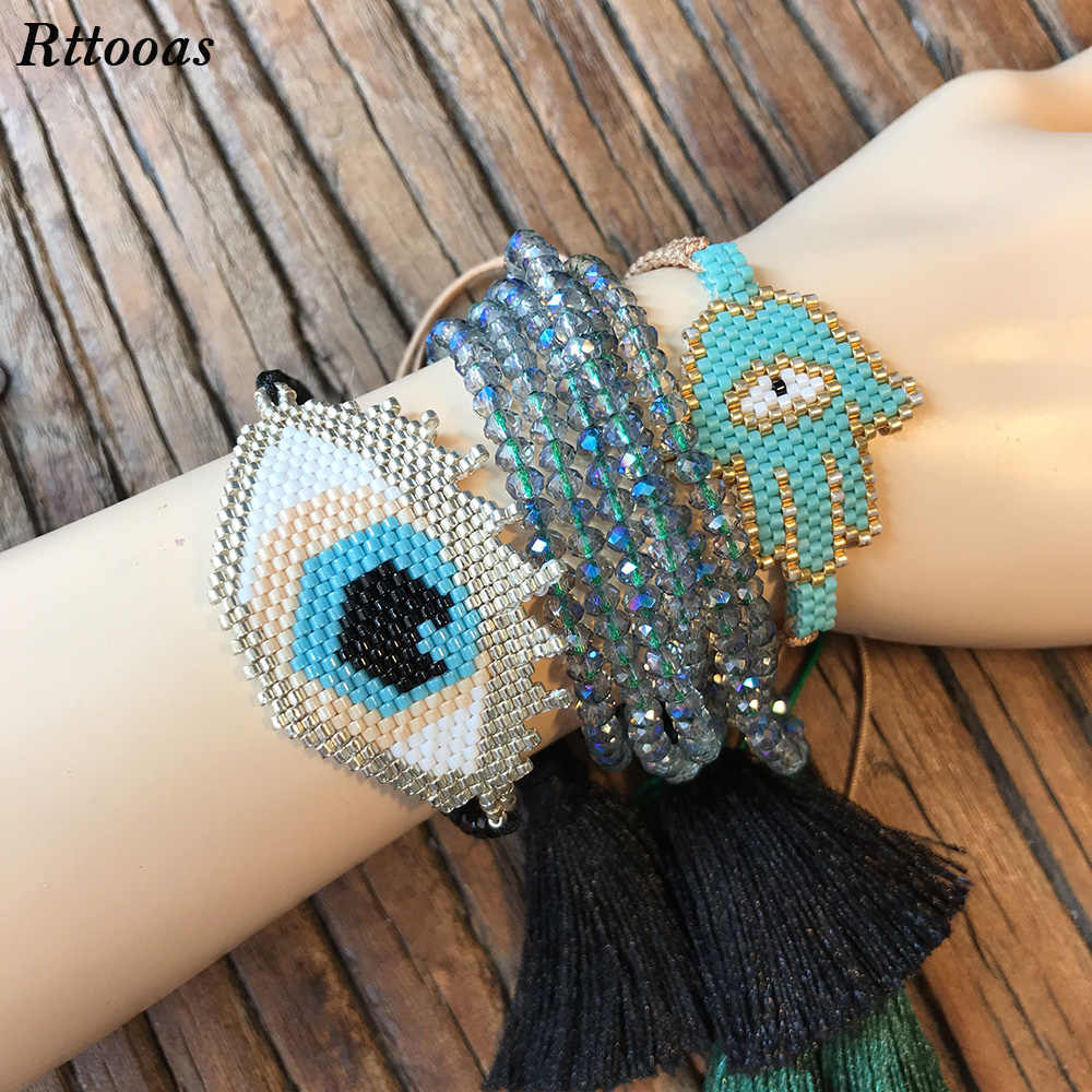 Rttooas Friendship Braclet for Women Handmade DIY Evil Eye Hamsa Fatima Bracelet Fashion Crystal Beads Tassel Pulseras Bracelet