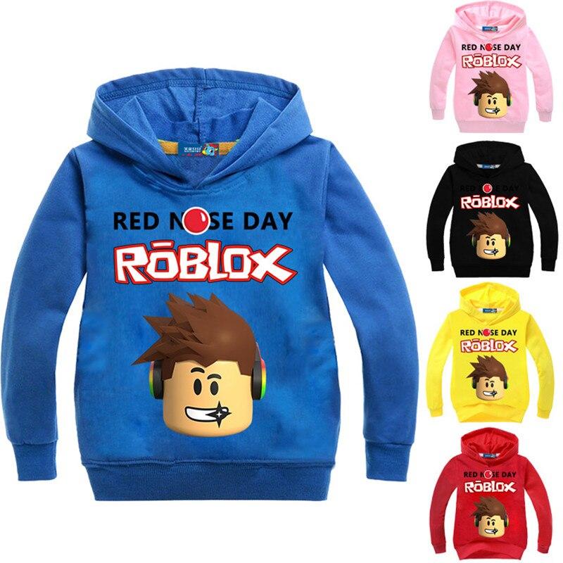 2018Roblox Hoodies Shirt For Boys Sweatshirt Red Noze Day Costume Children Sport Shirt Sweater For Kids Long Sleeve T-shirt Tops