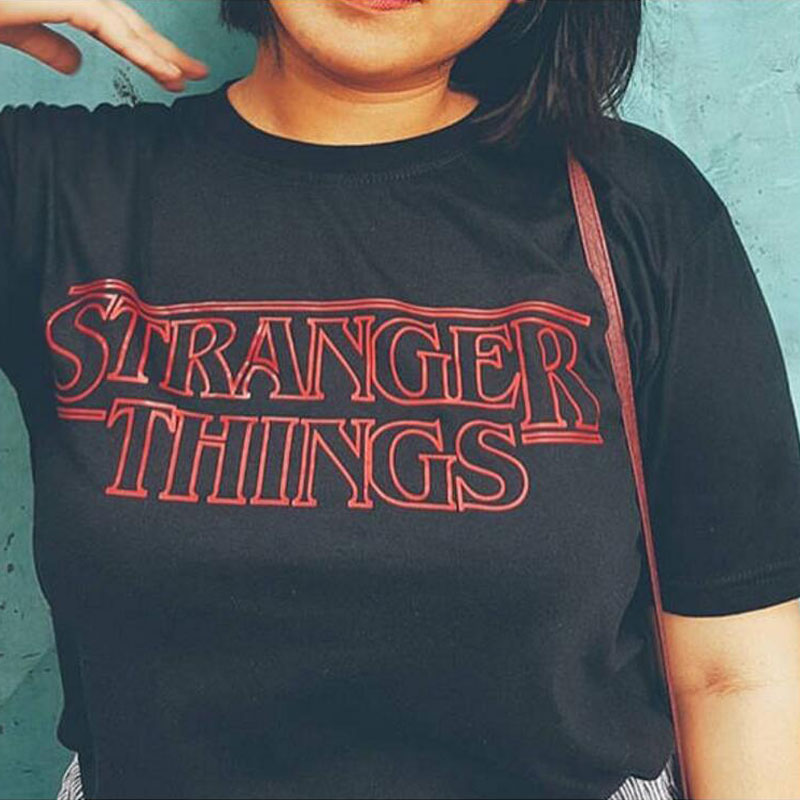 Eqmpowy Stranger Things Inspired Top Shop Unisex Mens Womans Tv Horror New T Shirts Letter Print Cotton Fashion Tees & Tops