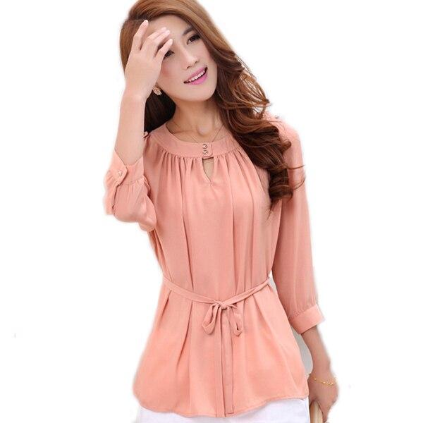 64d2c1e9c2 Estilo coreano de las mujeres blusa de gasa camisa verde de verano de color rosa  blusa