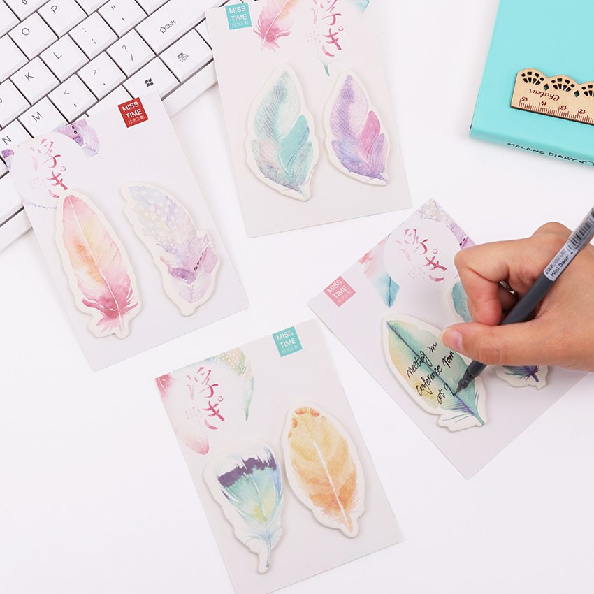 Colorful Feathers Kawaii Bookmarks Stickers Memo Pad Sticky Notes Cute Office Stationery