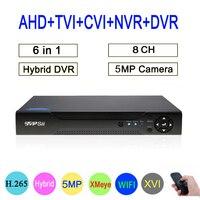 5mp/4mp/3mp/2mp/1mp CCTV Камера Hi3531D 8CH 8 канальный 5MP H.265 гибрид коаксиальный WI FI 6 в 1 TVI CVI NVR AHD DVR Бесплатная доставка