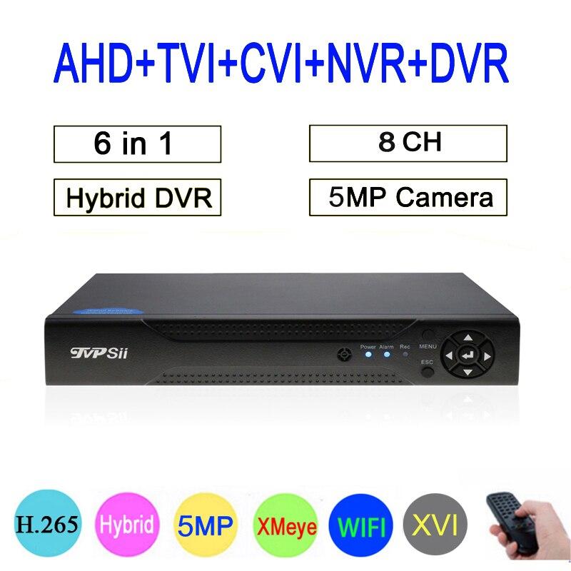 5mp/4mp/3mp/2mp/1mp CCTV Камера Hi3531D 8CH 8-канальный 5MP H.265 Гибридный коаксиальный WI-FI 6 в 1 TVI CVI NVR AHD DVR Бесплатная доставка