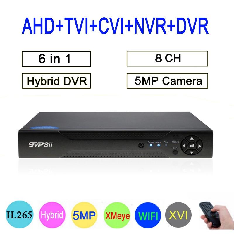 5mp/4mp/3mp/2mp/1mp CCTV Camera Hi3531A 8CH 8 Channel 5MP H.265 Hybrid Coaxial WIFI 6 in 1 TVI CVI NVR AHD DVR Free shipping
