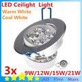 3 unids/lote luz de techo llevada caliente / frío del blanco LED LED lámpara 100 ~ 245 V LED Spot luz 9 W / 12 W / 15 W / 21 W envío gratis