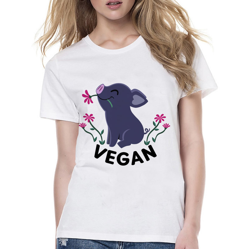 Vegan Happy Piglet kawaii Style T-Shirt women short sleeve harajuku tshirt new summer girl tumblr t shirt Wyy578