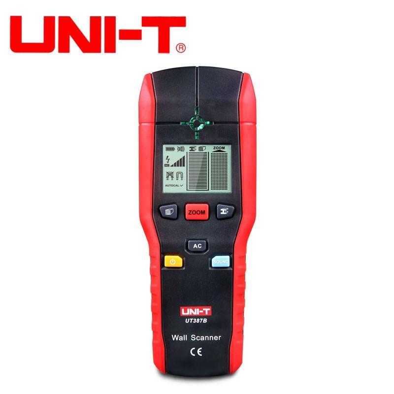 UNI T UT387B Parede Scanner Detector De Metais Encontrar Pregos De Madeira De Metal Caixa Elétrica de Tensão AC Live Wire Detectar Localizador Buzze FLASH LED