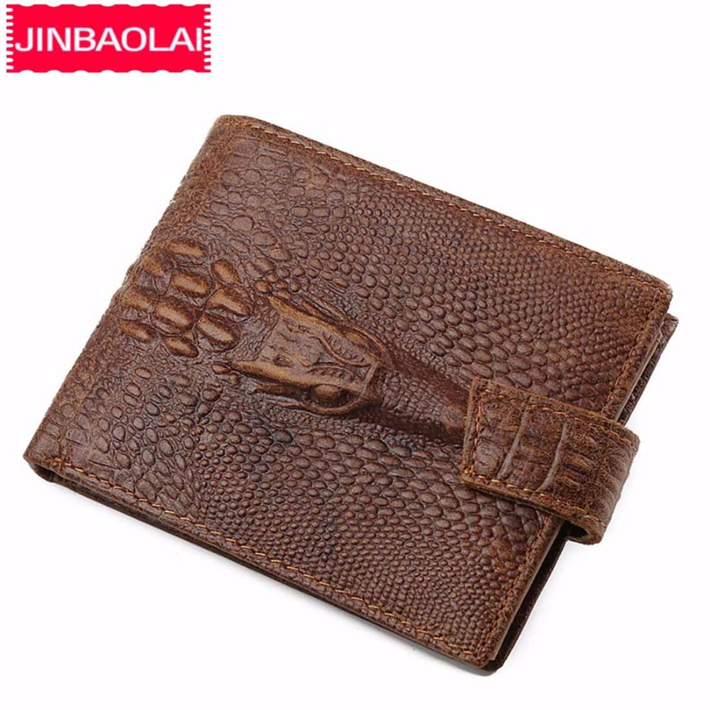 JINBAOLAI Crocodile pattern Men Wallets Genuine Leather Coin Pocket Short Male Wallet Card Holder High Quality Men Purse brand unique design crocodile head pattern genuine leather men s wallets high quality by gmw007