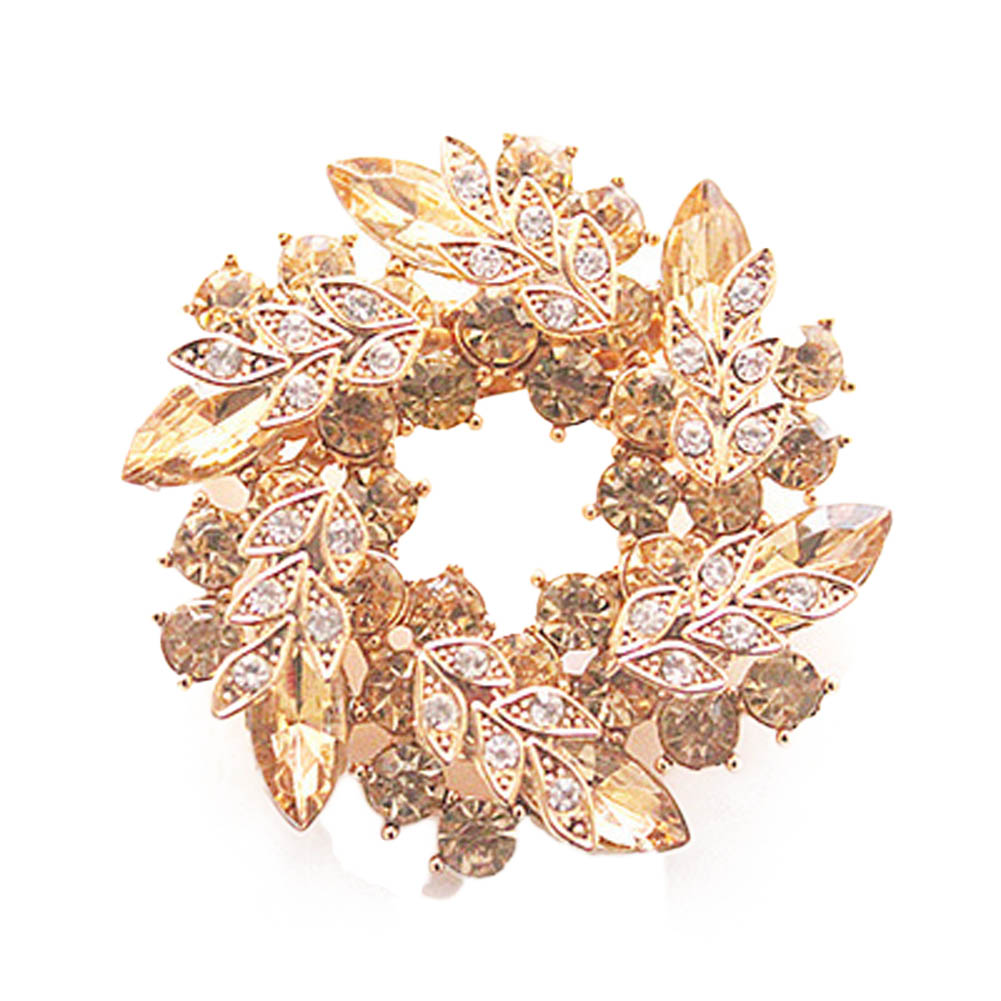 1 Pcs Women Brooches for Scarf Bling Bling Crystal Rhinestone Gold Color Chinese Redbud Flower Brooch