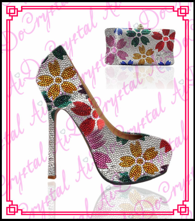Aidocrystal handmade rhinestone shoes multicolor woman party shoes font b bag b font to match