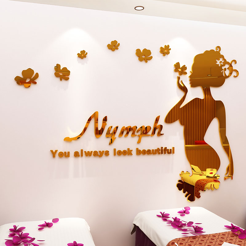 Nordic acrylic 3D stereo wall sticker home decoration INS sofa TV Background wall living room Study room Creative goddess in Wall Stickers from Home Garden