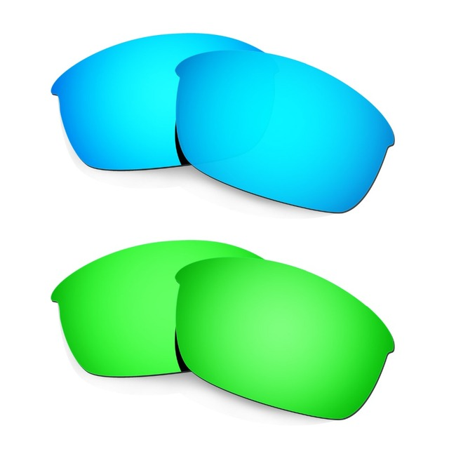 bdd3a2b1429 HKUCO For Flak Jacket Sunglasses Polarized Replacement Lenses Blue    Emerald Green 2 Pairs