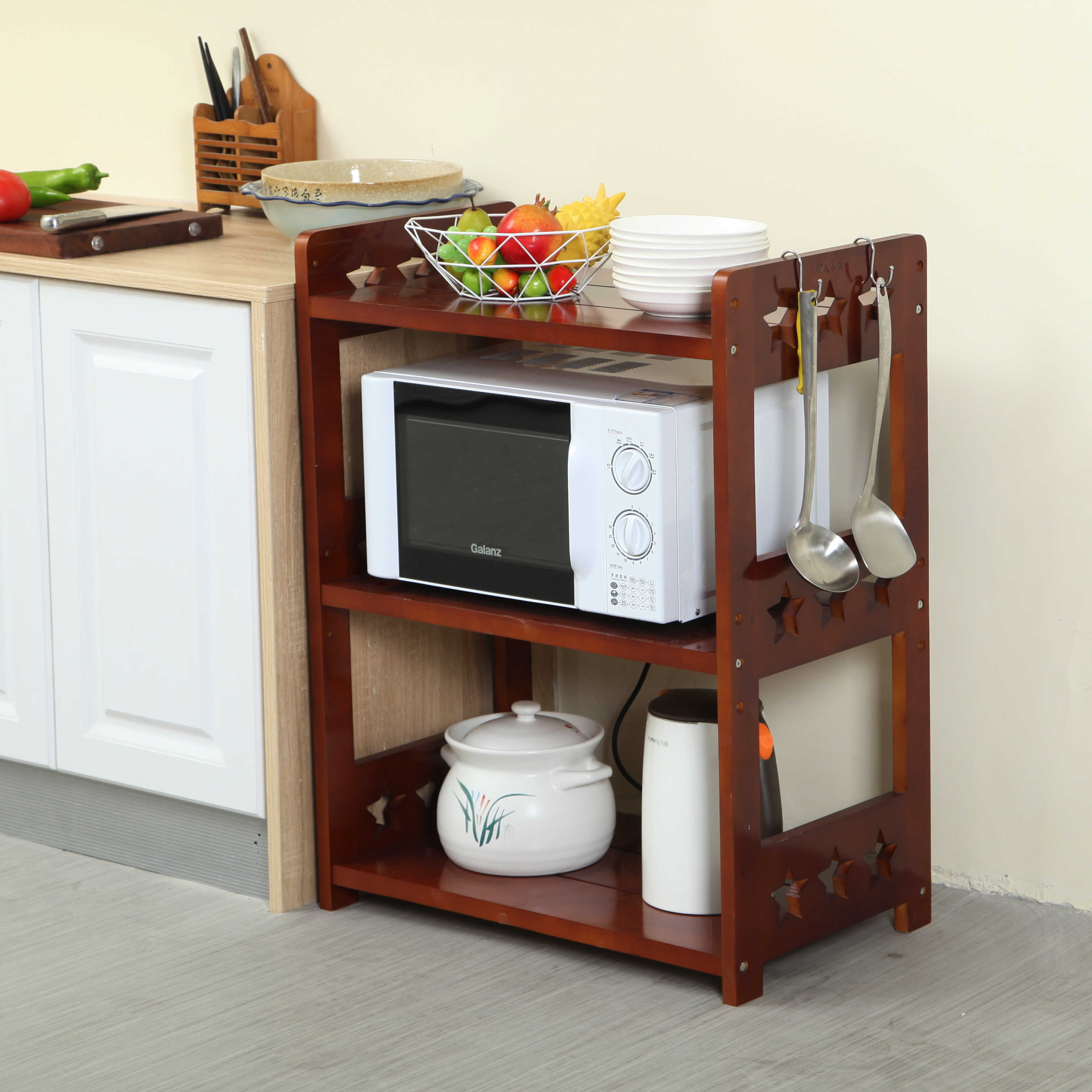 kitchen shelf solid wood multi layer