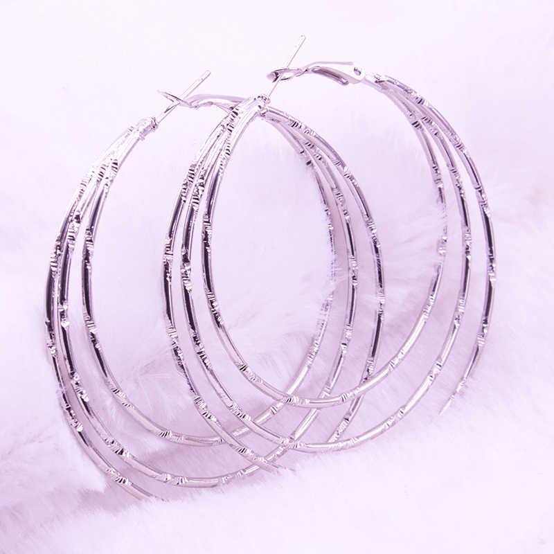 Pendiente estilo argolla grande redondo Punk espiral multicolor círculo grande de buena calidad de diseño Simple para mujer joyería de moda pendientes Brincos