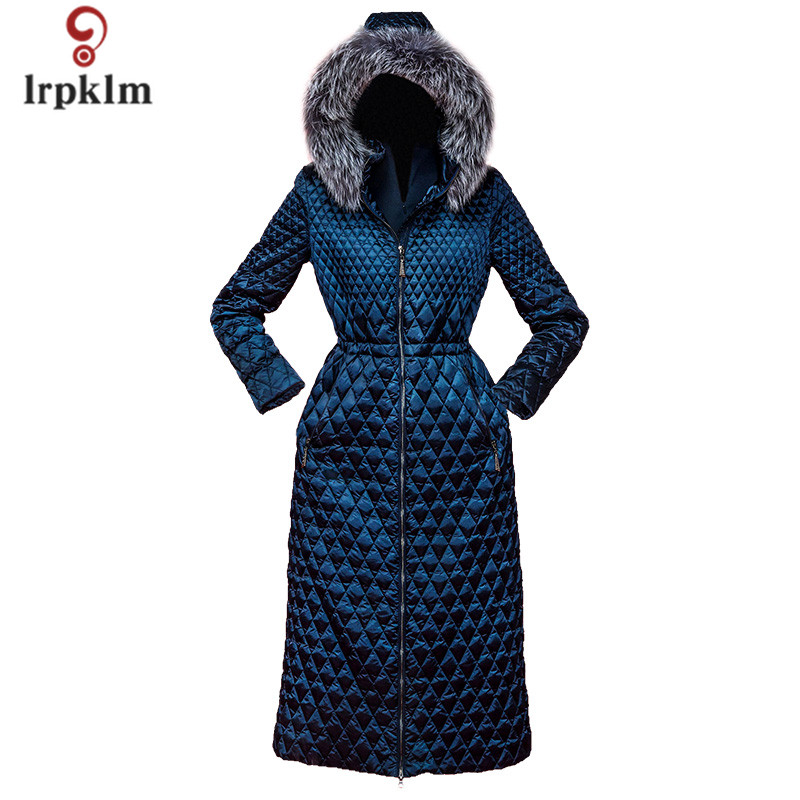 2017 New Fashion High Quality Women Winter Long   Down   Jackets With Fur Hooded Collar Female Warm Duck   Down     Coat   Slim Waist PQ113