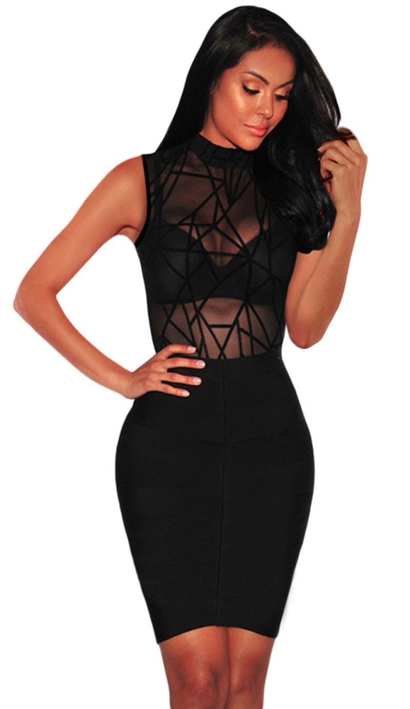 Sexy-Sheer-Mesh-Long-Sleeve-Geometric-Velvet-Bodysuit-LC32380-2-3