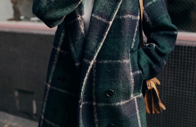Women Wool & Blends Autumn/Winter Plaid Coat 4