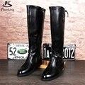 Микрофибра обувь США размер 8.5 дизайнер старинные сапоги мужская обувь острым носом ручной черный 2016 зима с мехом