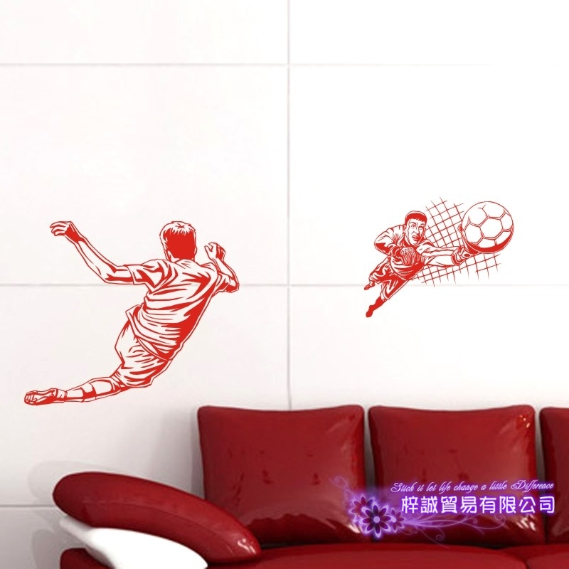 DCTAL Football Player Sticker Football Game Soccer Decal Helmets Kids Room Posters Vinyl Wall Decals F3