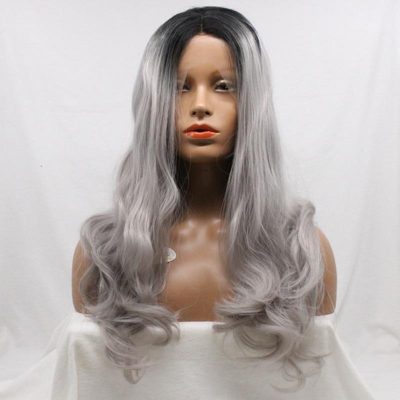 nuevo corte de pelo de plata gris de pelo largo ondulado peinado de color gris blanco