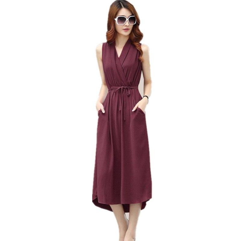 Summer Ladies Chiffon Tank Dresses V-Neck Sleeveless Sundress Elegant OL Boho Maxi Office Dress Lace Up Vestido Long Dress C3244