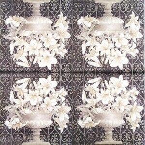 Image 2 - 20 빈티지 테이블 냅킨 종이 decoupage 결혼식 크리스마스 생일 파티 꽃 흰색 balck serviettes 장식 조직