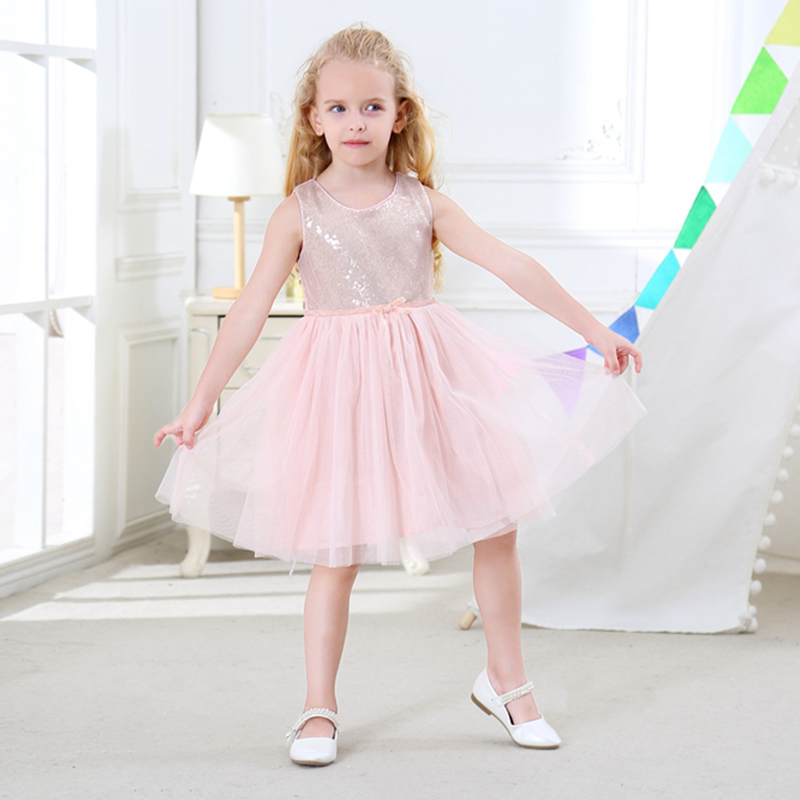 R&Z Baby Girls Dress 2017 Summer O-neck Sequins Vest Princess Wedding Party Pure Cotton Net Yarn Dress for Girls Kids Clothes