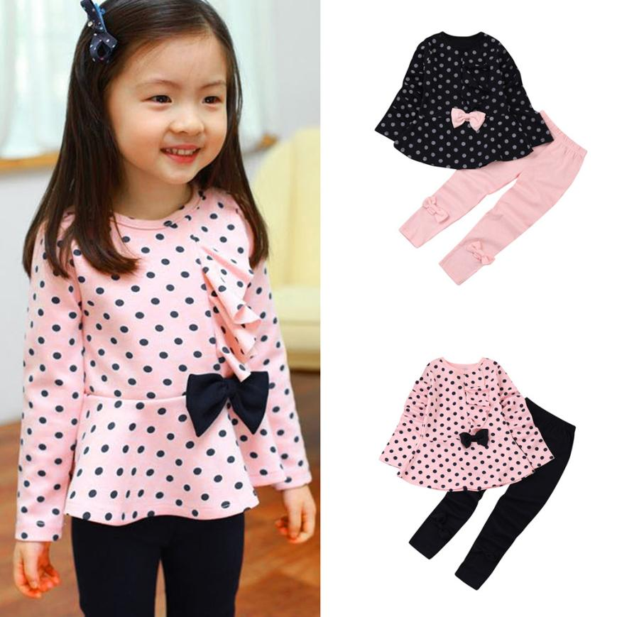 Toddler Infant Baby Girls Dots Print Clothes Bow Top T-shirt +Pants Outfits Set D50