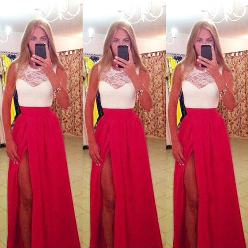 New Arrival 2019 Sexy Summer   Prom     Dresses   White Top with Red Skirt A-Line Long Evening Party Gowns High Split vestido de festa