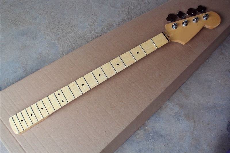 Four - string electric bass neck maple wood fingerboard with a button title=