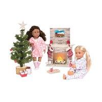 2 Sets High Quality 2018 New Year Our Generation Holiday Celebration Set Doll Night Robe Pajamas