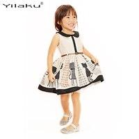 Neue Sommer Kinder Mädchen Prinzessin Kleid Sleeveless Kinder Cartoon Tier Katze Gedruckt Tüll Weste Kleider Mit Gürtel CA307