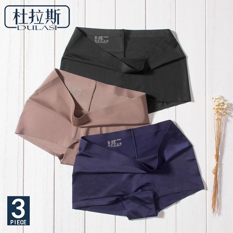DULASI Silk Women Seamless Panties Sexy Shorts Underwear Briefs for Girls Low Rise Waist  Japanese Nylon Panty 3 pcs/set