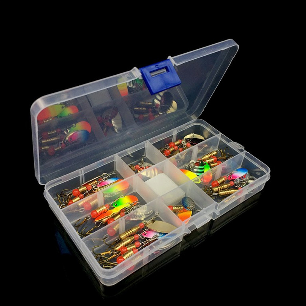 10pcs/30pcs Mixed Colors Spoon Fishing Lures Spinnerbait Metal Hard Bait Kit Fishing Tackle  With Box For Fresh Water Bass Pike