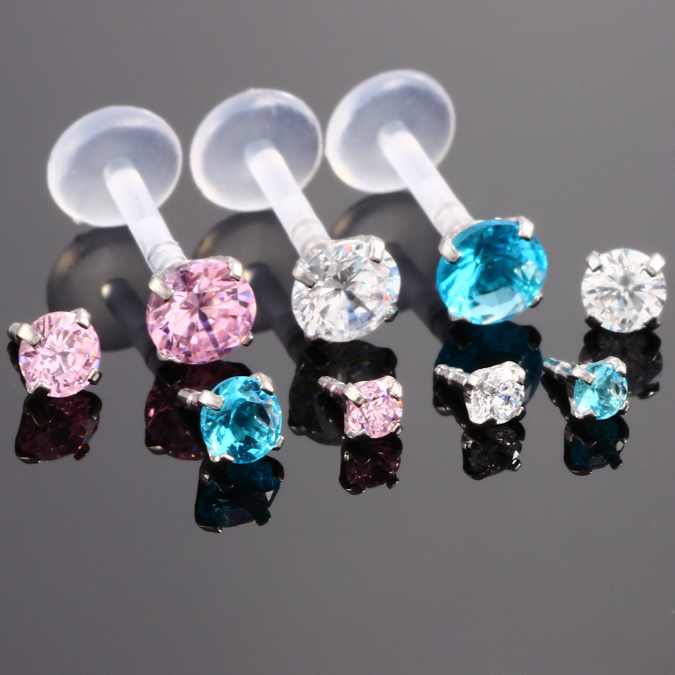 1Pc Pink Blue Clear Crystal Ptfe Bioplast Labret Lip Stud