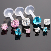 1Pc Pink Blue Clear Crystal Ptfe Bioplast Labret Lip Stud Piercing Piercing Body Jewelry