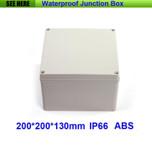 Free Shipping 1 Piece Small Type IP66 ABS Grey Waterproof seal plastic enclosure 200*200*130mm