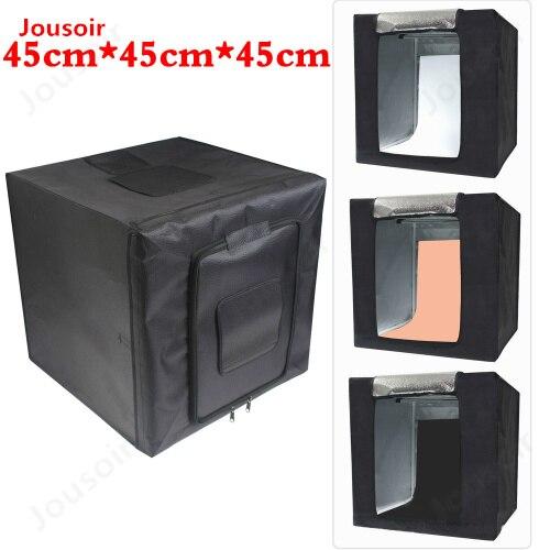 Portable Photographie Softbox Tente Avec Led Toile De Fond La Lumière De Table Tir Lightbox Pour Dslr Caméra Photo Studio Diffuseur CD15