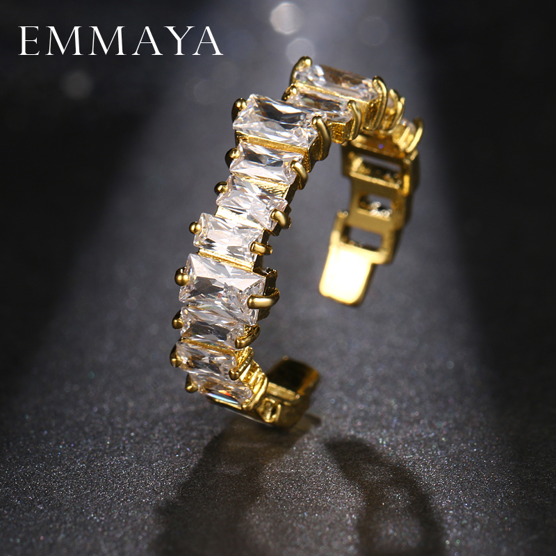 EMMAYA New Fashion Female Wedding Bands Jewelry Gold Color Engagement Rings for Women CZ Stone Paved Promise Rings