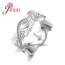 JEMMIN New Fashion Feather Rotation Real 925 Sterling Silver Rings Free Shipping Austrian Crystals Dropshipping Romantic Gift cheap Fine Trendy Third Party Appraisal Wedding Bands Anniversary Zircon 24G32701 Women Tension Setting 925 Sterling