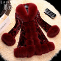 Plus sizes Winter New Mink fur coats,Noble Fox fur collar Ladies fur coats mink coats natural fur jacket coat Mink garment FH651