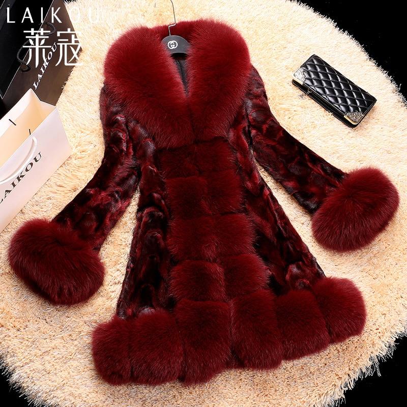 Fh651 noir Renard Veste De Tailles Noble Fourrure Dames Nouveaux Vison Vêtement Naturelle Fourrure Manteau Multi Col Manteaux Hiver Plus rouge nwwqaHBp
