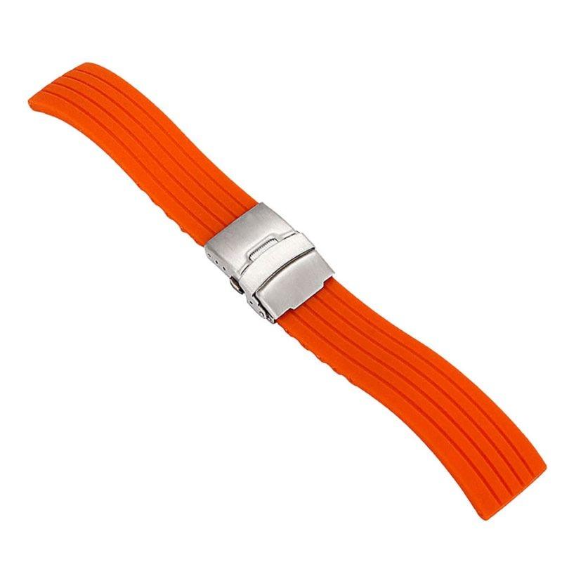 * Silikon Gummi Uhr Frauen-silikon-gummi-armband-band-faltschließe Wasserdicht Armband 16mm, 18mm, 20mm, 22mm, 24mm Unisex Uhr Zubehör *