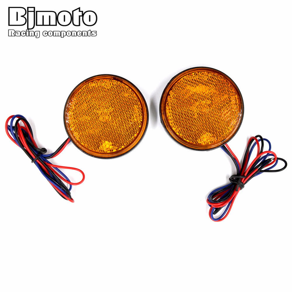 Bjmoto Pair 12V LED Motorcycle Round Reflector Tail Brake Turn Signal Lights Lamp Bulbs Stop Warning Light ATV Taillight