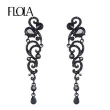 Big Black Long Earrings Angel Wings Rhinestone Crystal Earrings Black Fashion Jewelry Earrings for Women Dress 2018 New ersh70