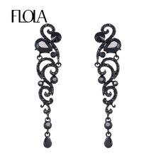 Big Black Long Earrings Angel Wings Rhinestone Crystal Fashion Jewelry for Women Dress 2016 New ersh70
