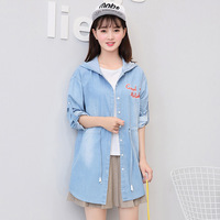 2017 Autumn Ladies Sweet Letters Embroidery Denim Jackets Female Long Sleeve Japanese Solid Slim Women Jacket Coats T360