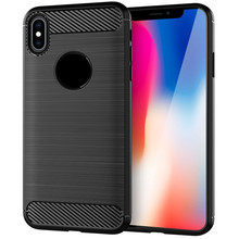 for iphone x Soft Carbon fiber mobile cell phone Back Cover Dirt-resistant Brushed Finish Shockproof case