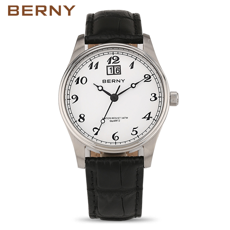 BERNY Antique Watches Men Luxury Brand Famous Montres Hommes Date Male Quartz Watch Fashion Casual Leather