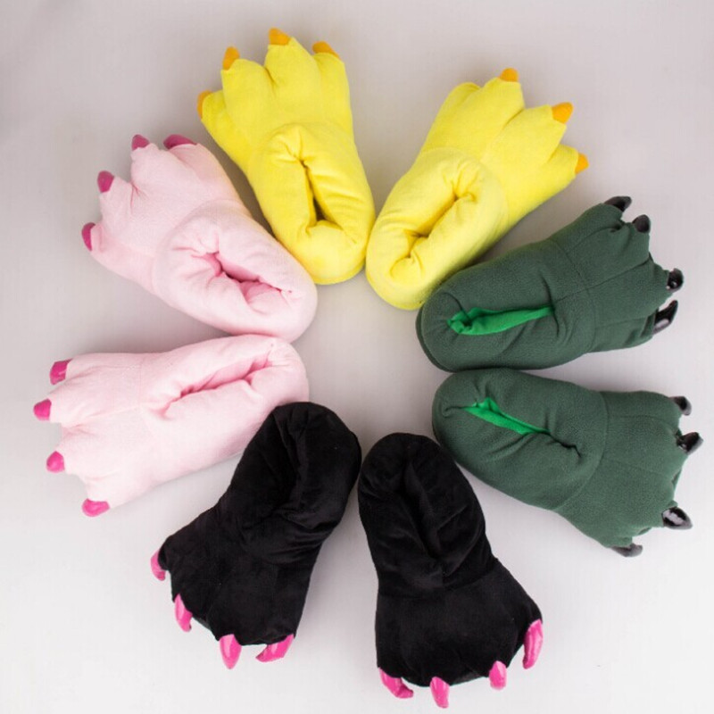 Plus Thick Velvet Cute Monster Claw Floor Shoes Warm Soft Plush Winter Indoor Shoes Cartoon Slipper Funny Animal Paw Slippers fashion pretty funny winter indoor toe big feet warm soft plush slippers novelty gift adult shoes slipper unisex 2016 hot sale